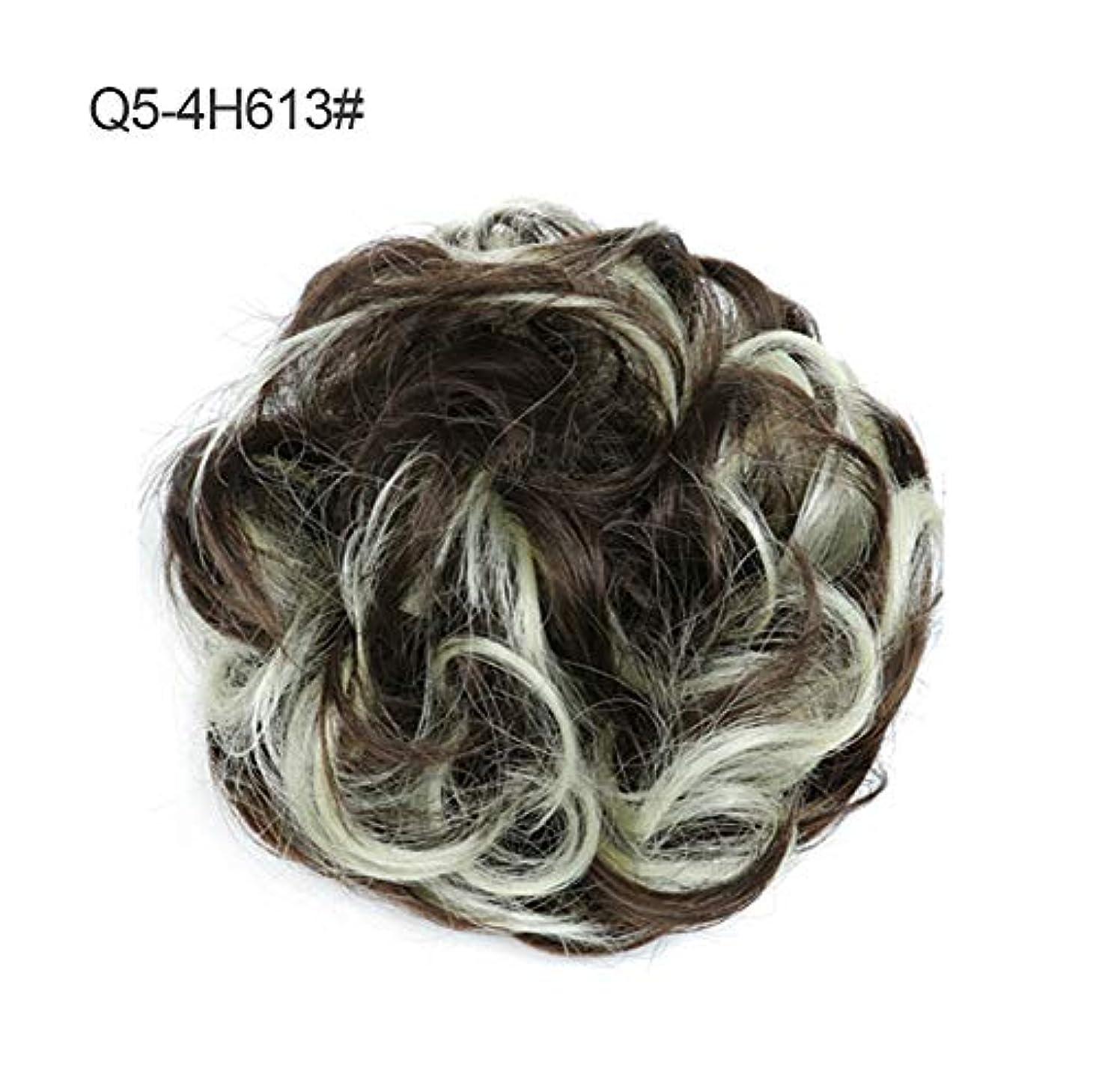 遅い失われた栄養メッシードーナツアップドポニーテールシニョンエクステンション、女性のためのカーリー波状部分シュシュ髪お団子リボンアクセサリー