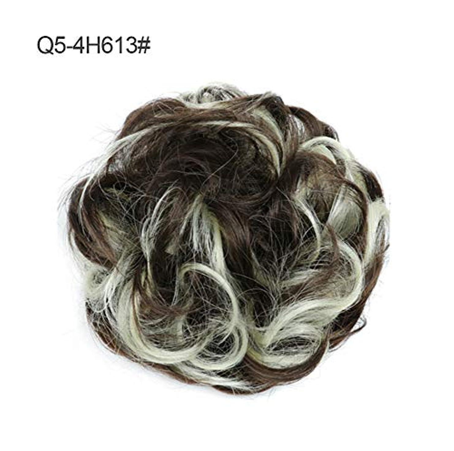 軽減する原子エイリアスメッシードーナツアップドポニーテールシニョンエクステンション、女性のためのカーリー波状部分シュシュ髪お団子リボンアクセサリー