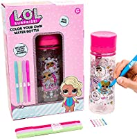 L.O.L. Surprise Color Your Own Water Bottle By Horizon Group Usa,DIY Bottle Coloring Craft Kit, BPA Free, Decorate Your...