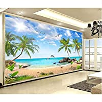 Xbwy カスタム写真の壁紙シーサイドココナッツツリー風景3D壁の壁画リビングルームテレビソファ背景壁紙壁紙家の装飾フレスコ画-350X250Cm