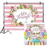 Allenjoy 7×5フィートフラミンゴパーティー背景幕 夏 トロピカル ハワイアン ビーチ ルアウ 写真背景 誕生日バナー Let's Flamingle Sea Fruit Floral Girl Baby Shower Decorations 写真ブース撮影用