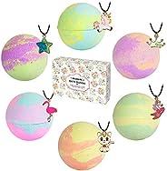 Bath Bombs with Surprise Necklaces – 6pcs 5.5 oz Bubble Bath Fizzies for Kids Unicorn Bath Bombs Gift Set for
