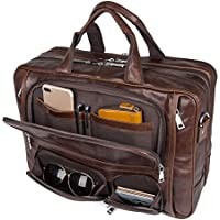Augus Business Travel Brifecase Genuine Leather Duffel Bags for Men Laptop Bag fits 15.6 inches Laptop