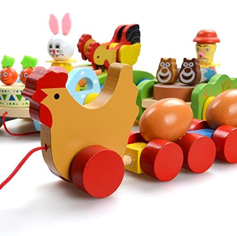 goodsceneクリエイティブpull-alongトイクリエイティブPull Along幼児用おもちゃ木製Cartoon教育玩具