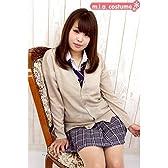 ニットカーディガン単品 色:キャメル サイズ:M ■男女兼用 学校制服■