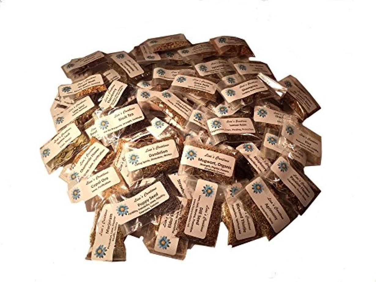 淡い切手餌Lisa 's Creations、Inc 60 Herbサンプラーキットwith Five ( 5 )ハンドメイドモスリンバッグ( 3