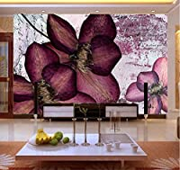 Lcymt 紫色の花の壁画3D壁壁画壁紙用テレビソファ背景寝具部屋の壁写真壁画壁紙装飾-400X280Cm