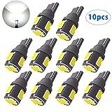 HooMoo T10 LED ホワイト 白 爆光 高輝度 6連SMD 5630LED素子 240ルーメン ポジションランプ ルームランプ ナンバー灯 12V専用 10個セット 1年保証