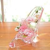 [florence du]プリザーブドフラワー バラ・カーネーションハイヒールアレンジメント ピンク 母の日 ギフト ガラスの靴 花 フラワーギフト 結婚 誕生日 シンデレラ プリンセス プロポーズ ブリザードフラワー プレゼント