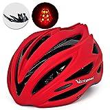 VICTGOAL 自転車 ヘルメット大人用 ロードバイク/サイクリング ヘルメット 超軽量 高剛性 LEDライト・男女兼用 ヘルメット通気 サイズ調整可能 57-61CM M/L (ヤグァン赤)