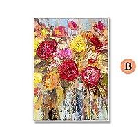 デコレーション 花オイルウォール装飾写真はライブルームのホームインテリアのために絵画のキャンバスの壁にペイント塗装の100%ハンド ギフト (Color : B, Size (Inch) : (50X70cm)20X28inch)