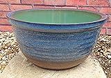 睡蓮鉢 MPA-BL (14号) 青色 ビオトープ創りに 陶器製 メダカや金魚・水生植物に 『夏の涼』『秋の趣』『メダカの防寒対策』