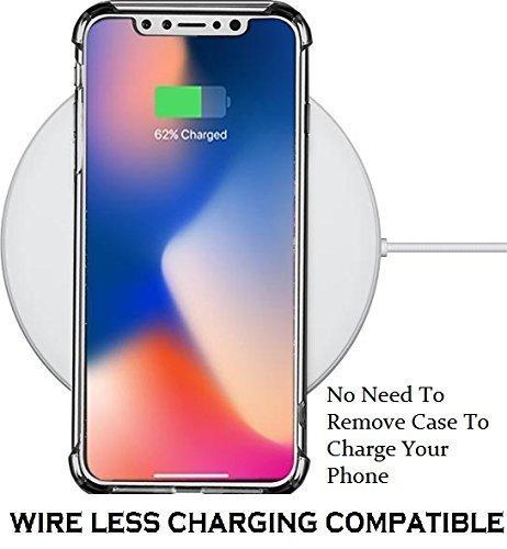 iPhone X ケース,Jenuos iPhone X ケース クリア シリコン Qi 充電 対応 落下 衝撃 吸収 透明 ソフト TPU ストラップホール付き アイフォン X カバー (iPhone X, クリスタル・クリア)