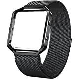 "for Fitbit Blaze Bands with Frame Metal Small Large (5""- 9.4""), Swees Stainless Steel Magnetic Milanese Replacement Band for Fitbit Blaze Women Men, Black, Silver, Colorful, Champagne Gold, Rose Gold"