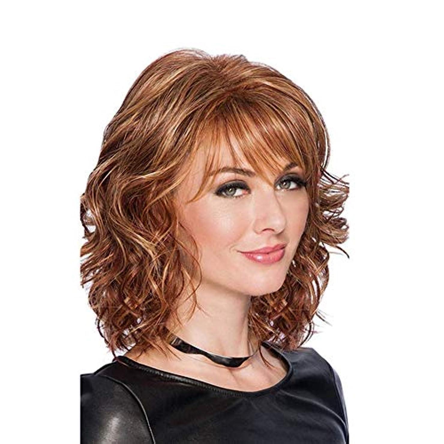 理想的力強いリラックスWASAIO 女性の髪のかつらブラウンショートカーリーヘアーフルウィッグ (色 : ブラウン)