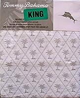 Tommy Bahama Home リラックス ソフトストーン ウォッシュドキングシーツセット ダイヤモンド パーム ライトグレー ホワイト