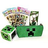 Minecraft マインクラフト Creeper クリーパー デジタル 置き時計 + ペンシルケース +キーホルダー+シール6枚セットの豪華4点セット [並行輸入品]