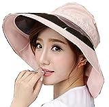 レディース おしゃれ UVカット 帽子 ハット つば広 大きい つば 楽しく お出かけ (ピンク)