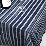 インド 木版染め(ブロックプリント) テーブルクロス インディゴ(藍染め) ストライプ