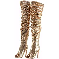CAMSSOO Women's Fashion Peep Toe Sparkle Sequins Thigh High Over Knee Pupms Heel Christmas Party Dance Boots