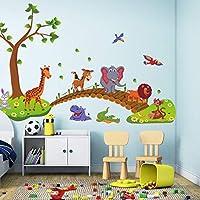 かわいいビッグジャングルの動物橋PVCウォールステッカーキッズベッドルームの壁紙 (PandaWelly)