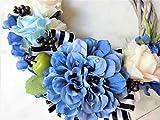 プリザーブドフラワー 永遠に続く幸せ花リース バラや西洋アジサイ、華やかにアレンジ。玄関やリビングのギフト、プレゼントに (ブルー)