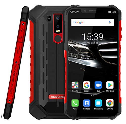 Ulefone Armour 6E IP68 / IP69K防水ロック解除堅牢スマートフォン、4GB + 64GB 6.2インチオクタコア、16MP + 2MPデュアルリアカメラ、防塵耐衝撃、フェイスIDおよび指紋識別携帯電話 (レッド)