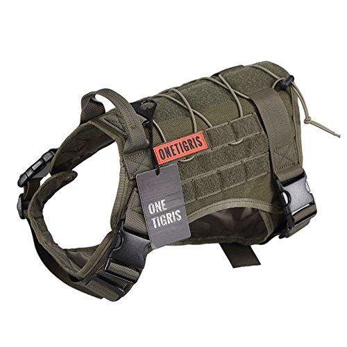 OneTigris犬用ハーネス かっこいい ジャケットベスト 犬服 訓練しつけ MOLLE対応 防水加工 (L, 老竹色)