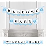 Baby Feet Blue - Baby Shower Bunting Banner - Boy Party Decorations - Welcome Baby [並行輸入品]