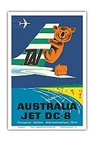 オーストラリア - TAI(国際航空運送) - ダグラスジェットDC-8 - コアラ - ビンテージな航空会社のポスター によって作成された セガン c.1960s - アートポスター - 31cm x 46cm