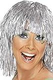 レディース ミディアム ウィッグ シルバー 1970年代風 ミディアム ロング メタリック 大人女性用 Cyber Tinsel Wig