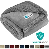 PetAmi Waterproof Dog Blanket for Medium Dogs, Puppies, Small Cats | Soft Sherpa Fleece Pet Blanket Throw for Sofa, Couch | Thick Durable Pet Bed Cover, Floor Mat 30 x 40 inches (Ash Ash)