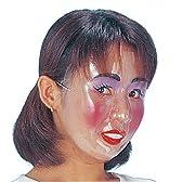 透明フェースマスク 女1