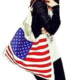 星条旗 モノトーン バッグ A4 サイズも 大容量 収納 国旗 通勤 通学 エコバック トートバッグ ショルダーバッグ ヴィンテージ カジュアルモノトーン 白 黒 アメリカ USA 男女兼用 ユニセックス (カラー)