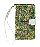 【Mrs.マドンナ】 Apple アップル iPad 手帳型 スマホ ケース 布地 グリーン カラフル カードポケット付 保護フィルムつき