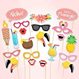 EBTOYS Luau Hawaii Themed Photo Booth Prop 21-Kit DIY Summer Party Supplies for Holiday, Summer Festivals Celebrations, Beach Pool Parties
