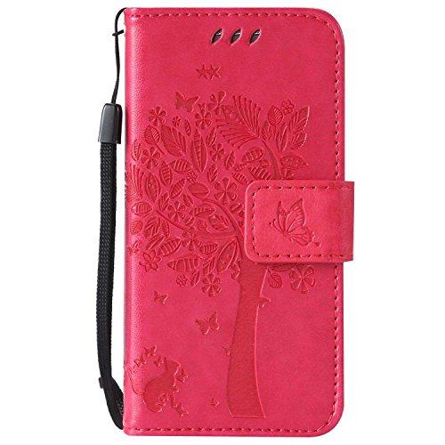 Galaxy S4 Mini ケース CUSKING 手帳型ケース PUレザー カードポケット全面保護 フリップ カバー 落下防止 衝撃吸収 財布型 ギャラクシ S4 Mini 対応 - ホトピンク