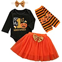 Buyinsoon 4pcs/Set Baby Girls Halloween Outfits My 1st Halloween Clothes Suit Romper + Tutu Skirt + Headband + Leg Warmers