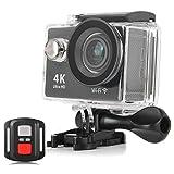 スポーツカメラ アクションカメラ 4K 高画質 KuGi 30m防水 Wi-Fi搭載 1080P フルHD 60fps HDMI 20MP + 170度広角レンズ 2.0インチ液晶画面 防水カメラ バイク/自転車/車などに取り付け可能 ブラック