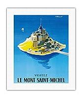 モン・サン・ミッシェルをご覧ください - ノルマンディー、フランス - ビンテージな世界旅行のポスター によって作成された ベルナール・ヴィユモ c.1955 - キャンバスアート - 41cm x 51cm キャンバスアート(ロール)