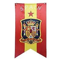 Liebeye 国旗 つり下げ 壁装飾 サッカー ワールドカップ 旗 バナー デコレーション 70*125CM スペイン