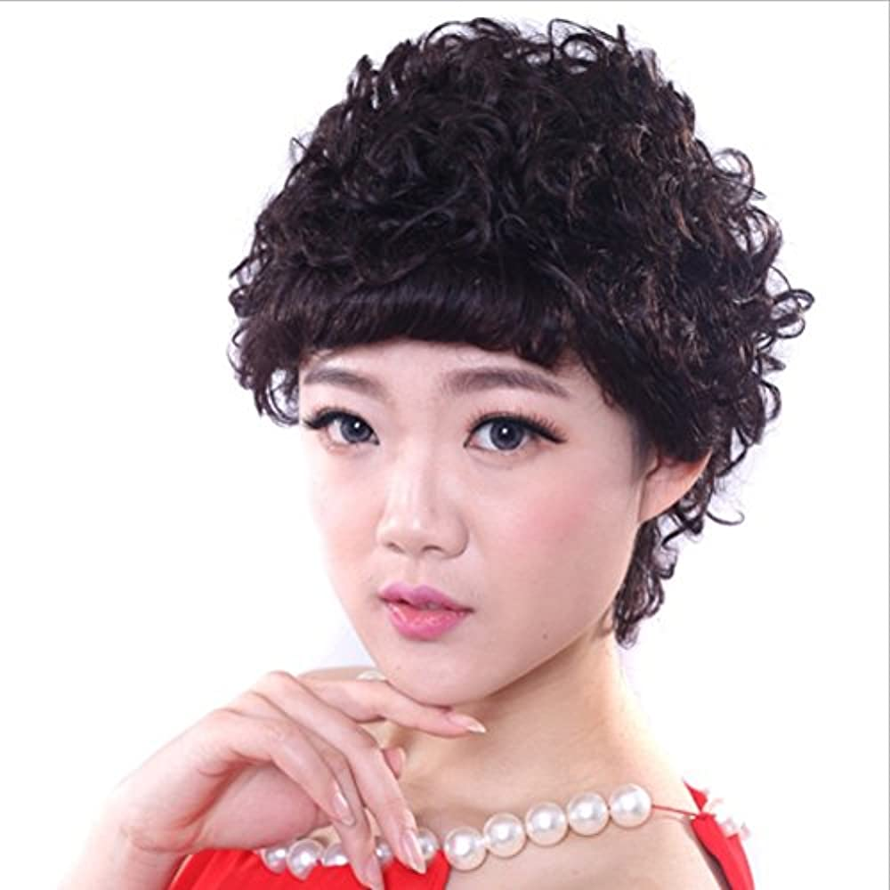 不当平行適度にYOUQIU ナチュラルブラックショートカーリーウィッグ - 傾斜中年のために前髪合成デイリーウィッグと古い女性自然な実髪(ブラック)かつらと春巻きウィッグ (色 : 黒)