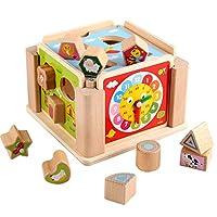 ビルディングブロック 子供のビルディングブロックパズルの形のペアリング木製の多機能ビルディングブロックのおもちゃカラフルなスマートボックス 子供用木製ブロックセット (色 : 色, サイズ : Free size)
