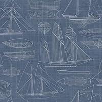 g23325–ドーヴィル2NauticalボートホワイトネイビーブルーGalerie壁紙