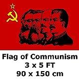 共産90×150センチメートル3` X 5` FT 100Dポリエステルマルクスエンゲルス、レーニン、スターリンCCCPソ連ソビエトエンブレムフラグとバナーの旗