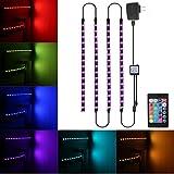 SOLMORE TVバックライト USB LEDバックライト PC照明 LEDテープライト 間接照明 RGB SMD 5050 24キーリモコン 防水IP65 調光 装飾 アクセサリー 照明 カラフル-50cm×4本 アメリカ規格
