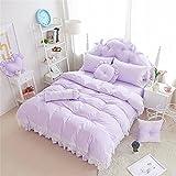 (コフェイス)Coface 寝具カバーセット 布団カバー ベッドスーツ 枕カバー シングル 3点セット かわいい 姫系 レース 綿100 パープル