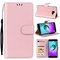 Samsung Galaxy A5 (2016) A510 Holster Case Flip, Moonmini Cover Suit Premium Vertical Leather Pouch Sleeve Carrying Case 耐久保護ケース with Card Slot Holster for Samsung Galaxy A5 (2016) A510 (Pink)