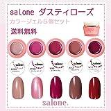 【送料無料 日本製】Salone ダスティローズ カラージェル5個セット ネイルのマストカラーのローズ系カラー