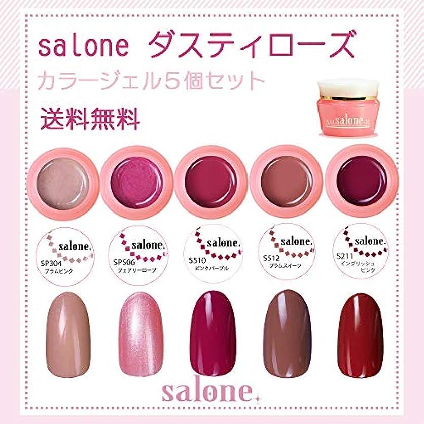 階段純度勝利した【送料無料 日本製】Salone ダスティローズ カラージェル5個セット ネイルのマストカラーのローズ系カラー
